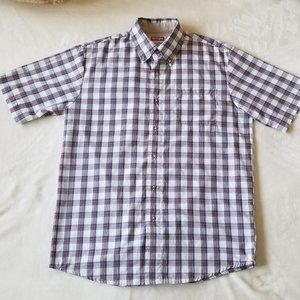 Wrangler Men's Small Plaid shirt Wrinkle Resist